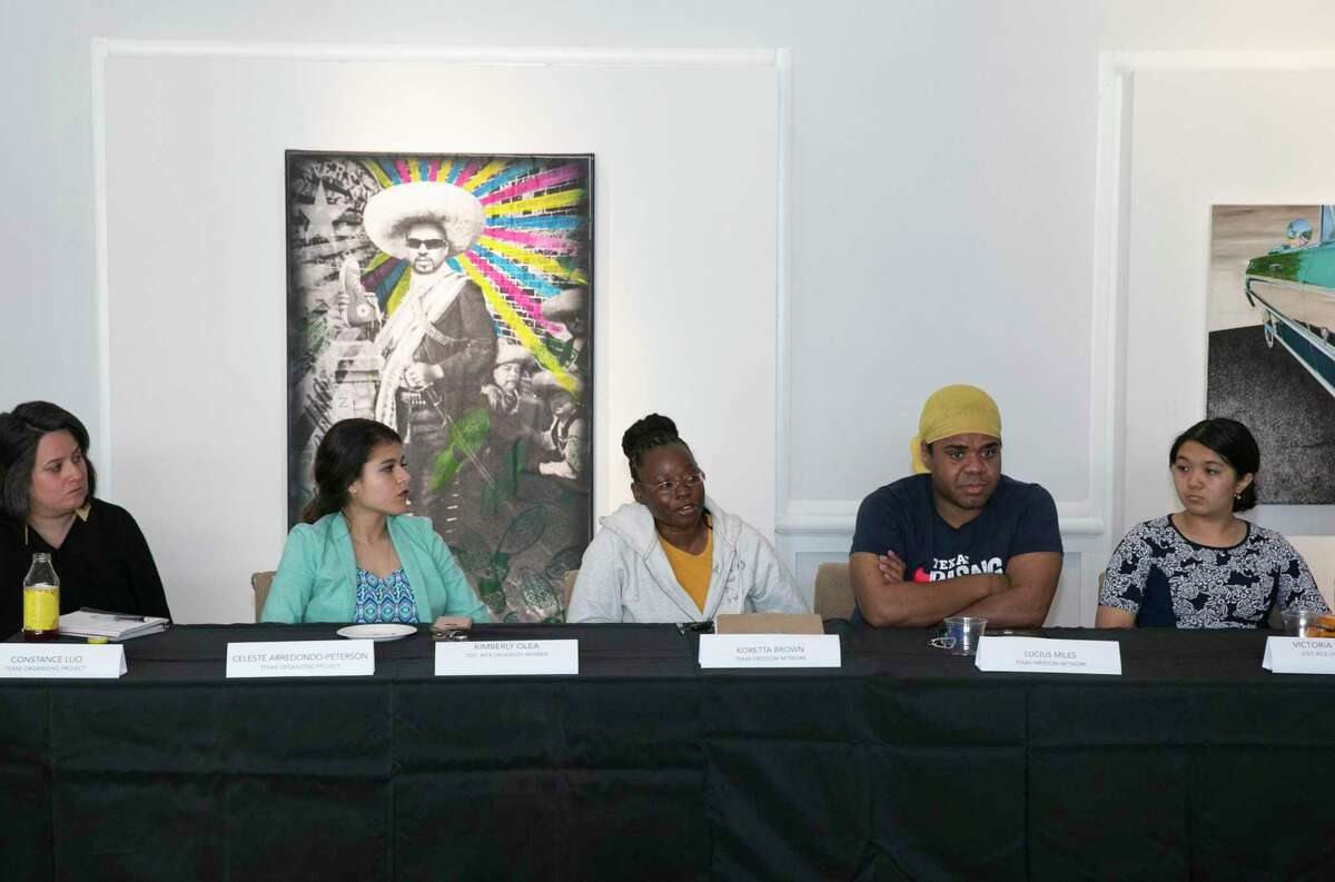 Community activists Koretta Brown, center, with Texas Freedom Network, shared her observations with former U.S. Attorney General Eric Holder and area college student leaders during a round table to discuss the census in 2020 and redistricting in 2021 on Wednesday, March 20, 2019, in Houston. Building power in Houston's young Latino population and getting the Latino community to vote in the future at the state level was a part of the discussion.