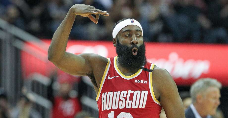 Houston Rockets guard James Harden (13) celebrates a three-pointer during the first half of an NBA basketball game at Toyota Center on Friday, Jan. 3, 2020, in Houston. Photo: Steve Gonzales/Staff Photographer