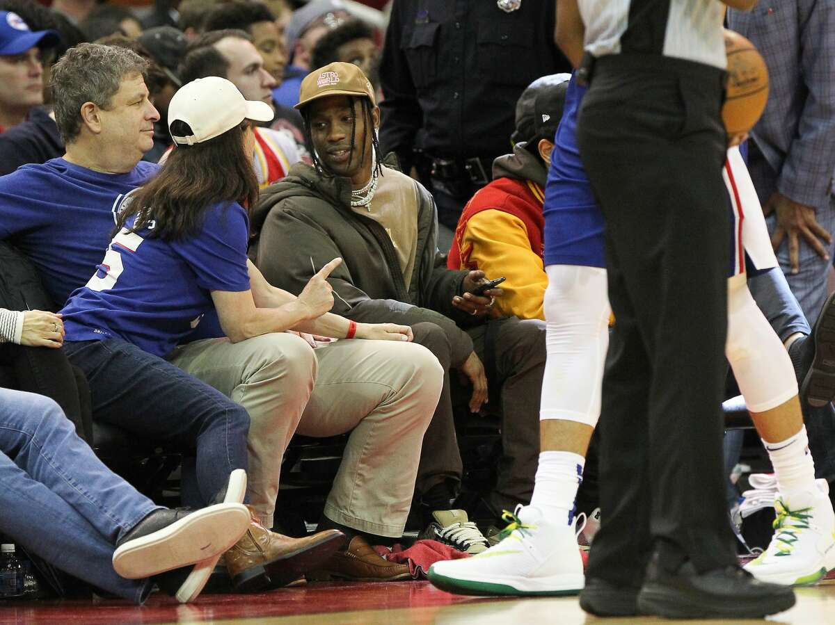 PHOTOS: Other celebrities at the Rockets' win over the 76ers at Toyota Center Rapper Travis Scott was courtside of the Houston Rockets game NBA basketball game at Toyota Center on Friday, Jan. 3, 2020, in Houston. Browse through the photos above for a look at some of the celebrities in Houston for the Rockets' win on Friday night ...