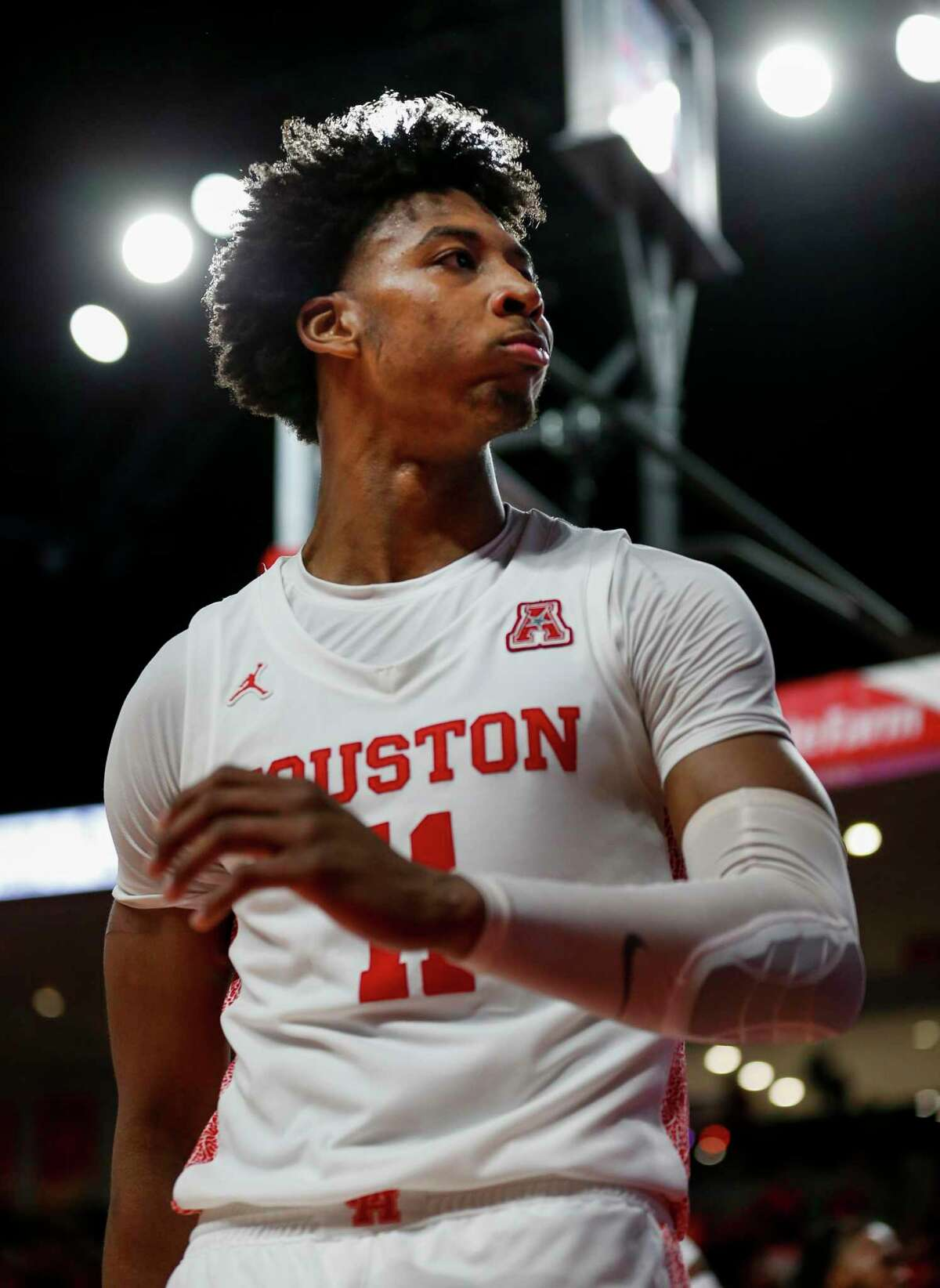 Houston Cougars guard Nate Hinton (11) after scoring against the UCF Knights during the second half of an NCAA game at the Fertitta Center Friday, Jan. 3, 2020, in Houston. The Cougars won 78-63.