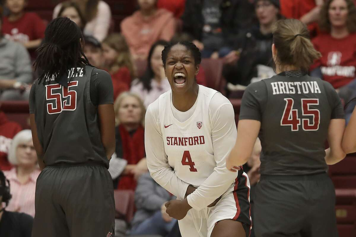 Stanford forward Nadia Fingall (4) reacts after scoring and being fouled between Washington State's Bella Murekatete (55) and Borislava Hristova (45) during the first half of an NCAA college basketball game in Stanford, Calif., Friday, Jan. 3, 2020. (AP Photo/Jeff Chiu)