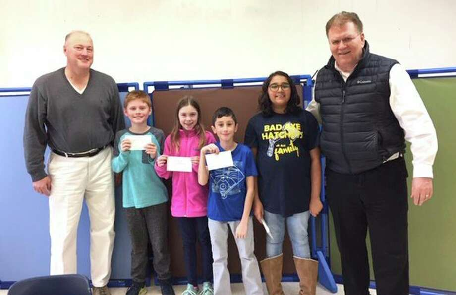 Pictured are Tim Messing, chairman of the event, and Bad Axe Middle School winners Cody Palmer, Rayleigh McKimmy, Kaiden Harris, Miraya Verma and Ray Geiger. (Submitted Photo)