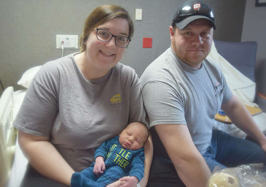 Patrick Armold was born Wednesday to Taylor Armold (left) and Jake Armold — and was the first baby born at Passavant Area Hospital in the new year. Photo: Samantha McDaniel-Ogletree | Journal-Courier