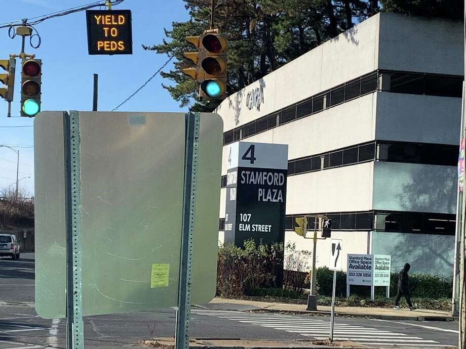 """In the wake of a fatal accident that killed pedestrian Lynette Hanlon Wagner in January 2018, the City of Stamford added a """"Yield to Peds"""" sign at North State and Elm streets. Photo: Contributed Photo"""
