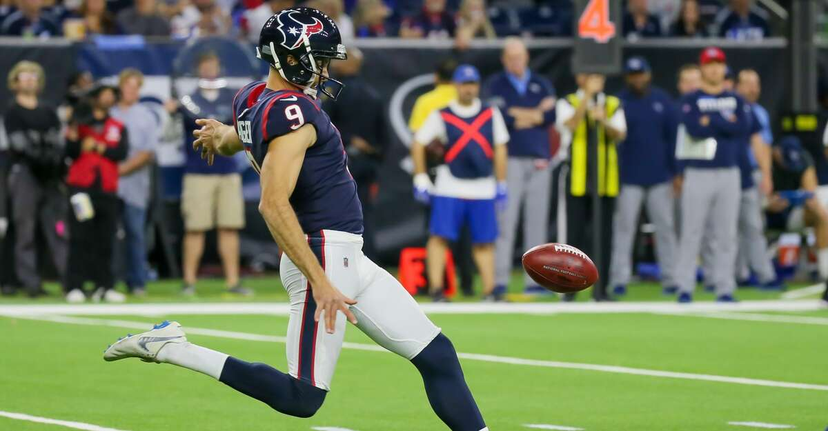 HOUSTON, TX - DECEMBER 29: Houston Texans punter Bryan Anger (9) kicks the punt during the football game between the Tennessee Titans and Houston Texans on December 29, 2019 at NRG Stadium in Houston, TX. (Photo by Leslie Plaza Johnson/Icon Sportswire via Getty Images)