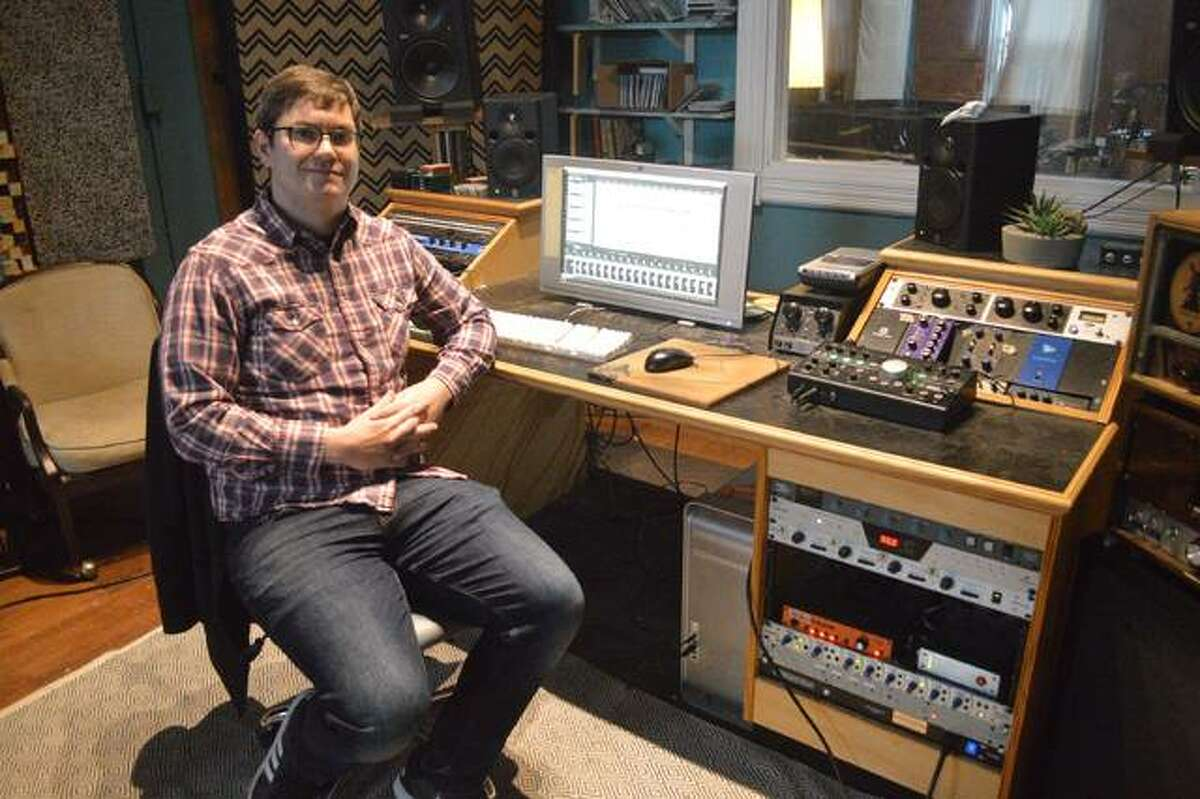 Owner Ryan Wasoba sits in the control room at Bird Cloud Recording. The studio will marks its seventh anniversary at its current location, 144A N. Main St. in Edwardsville, in February.