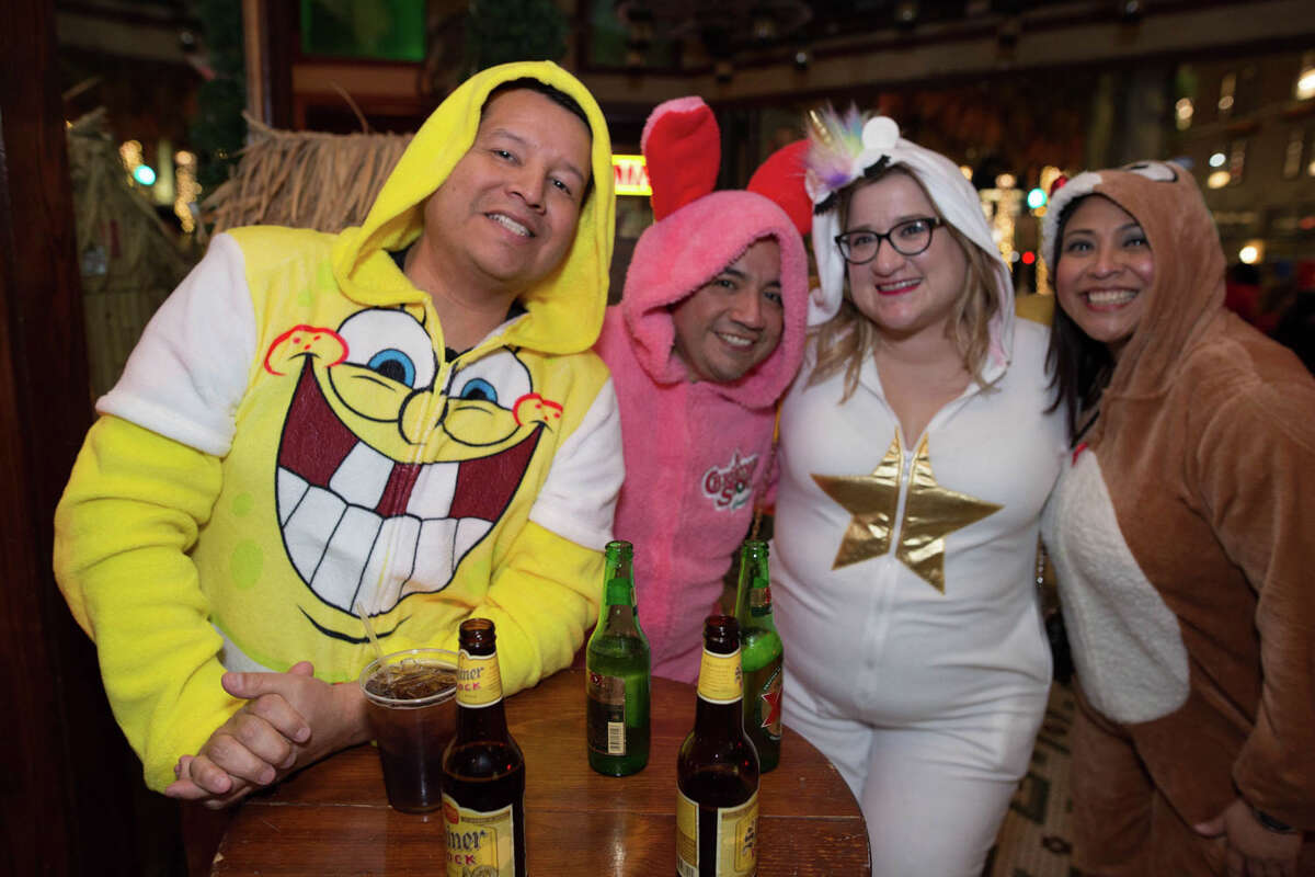 San Antonians celebrated the Onesie Pub Run on Friday, January 3, 2020 in the downtown area.