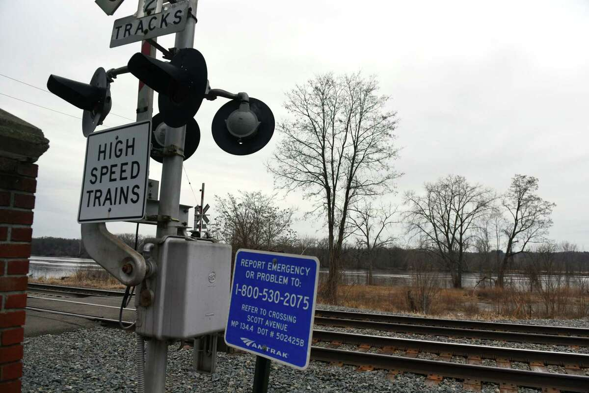 High speed Amtrak lines run between village streets and the Hudson River on Friday, Jan. 3, 2020, in Castleton-on-Hudson, N.Y. (Will Waldron/Times Union)