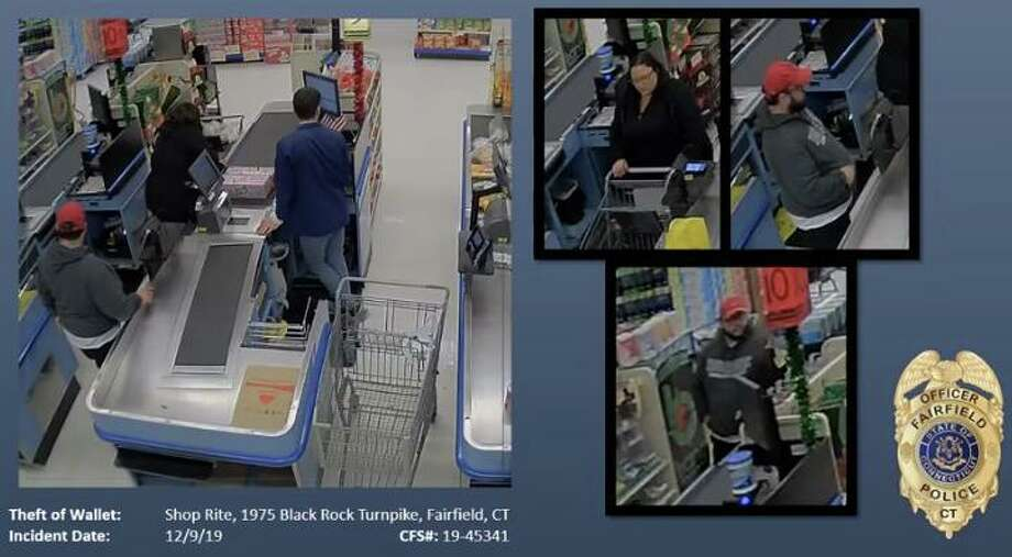 Fairfield, Conn., police are looking to identify these two suspects involved in a wallet theft from Shop Rite on Dec. 9, 2019. Photo: Contributed Photo / Fairfield Police Department