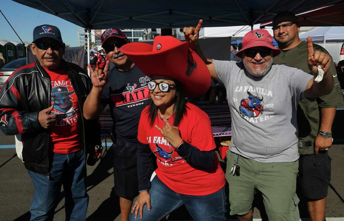 Houston Texans fans before the AFC Wild Card playoff game against the Buffalo Bills at NRG Stadium Saturday, Jan. 4, 2020, in Houston.