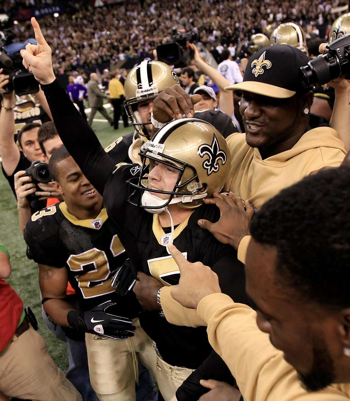 New Orleans Saints kicker Garrett Hartley celebrates after kicking the game winning field goal during overtime in the NFC Championship NFL football game in New Orleans, Sunday, Jan. 24, 2010. The Saints defeated the Vikings 31-28 to advance to the Super Bowl against the Indianapolis Colts. (AP Photo/David J. Phillip)