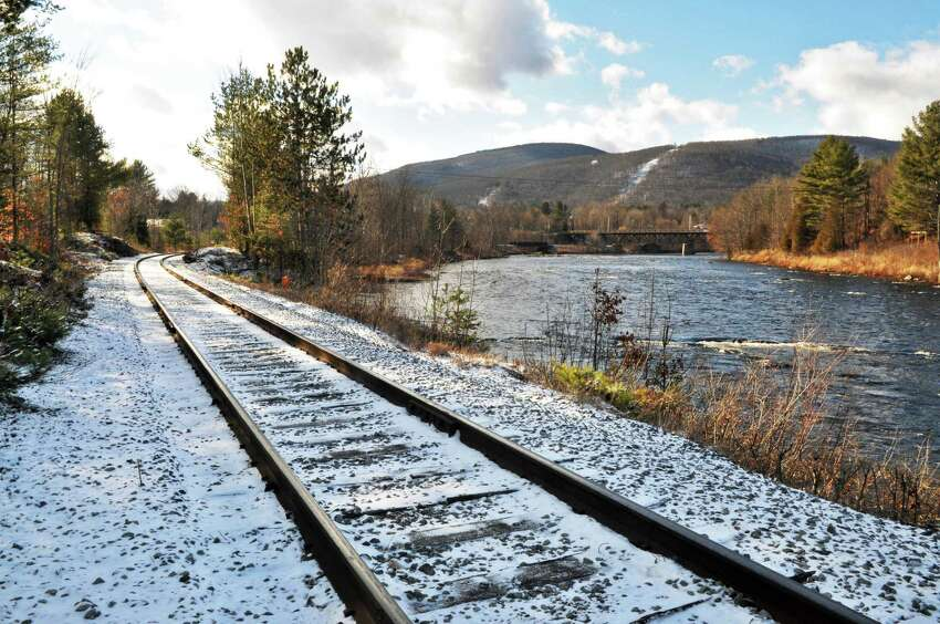 Rail tracks along River Road in North Creek Thursday Dec. 8, 2011. (John Carl D'Annibale / Times Union)