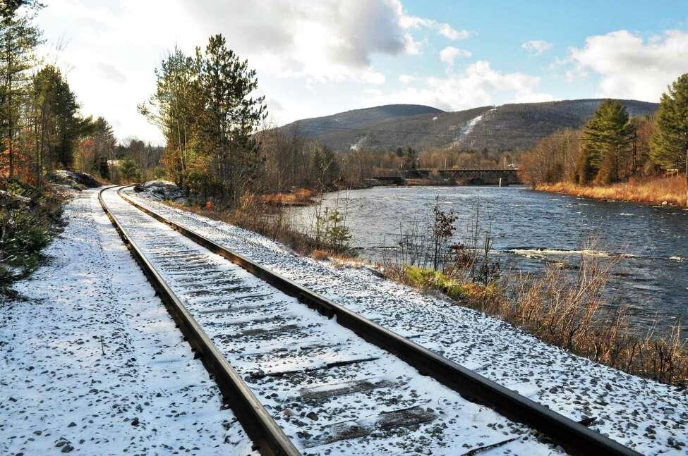 Rail tracks along River Road in North Creek Thursday Dec. 8, 2011. (John Carl D'Annibale / Times Union)