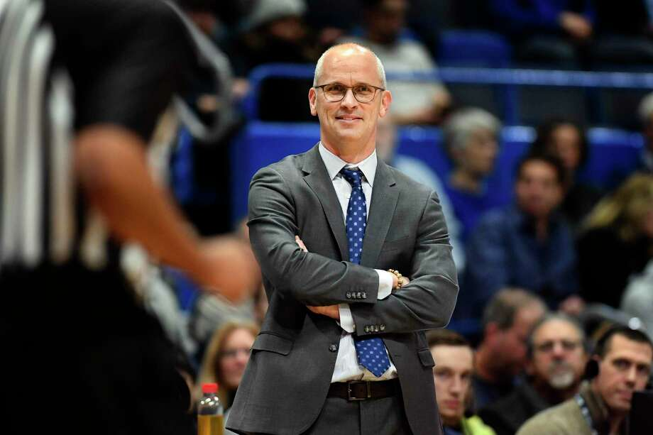 UConn coach Dan Hurley smiles as he watches his team during the second half against New Jersey Institute of Technology in December in Hartford. Photo: Stephen Dunn / Associated Press / Copyright 2019 The Associated Press. All rights reserved