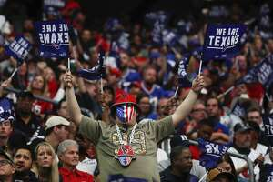 Houston Texans fans cheer during an AFC wild card playoff game against the Buffalo Bills at NRG Stadium on Saturday, Jan. 4, 2020, in Houston.
