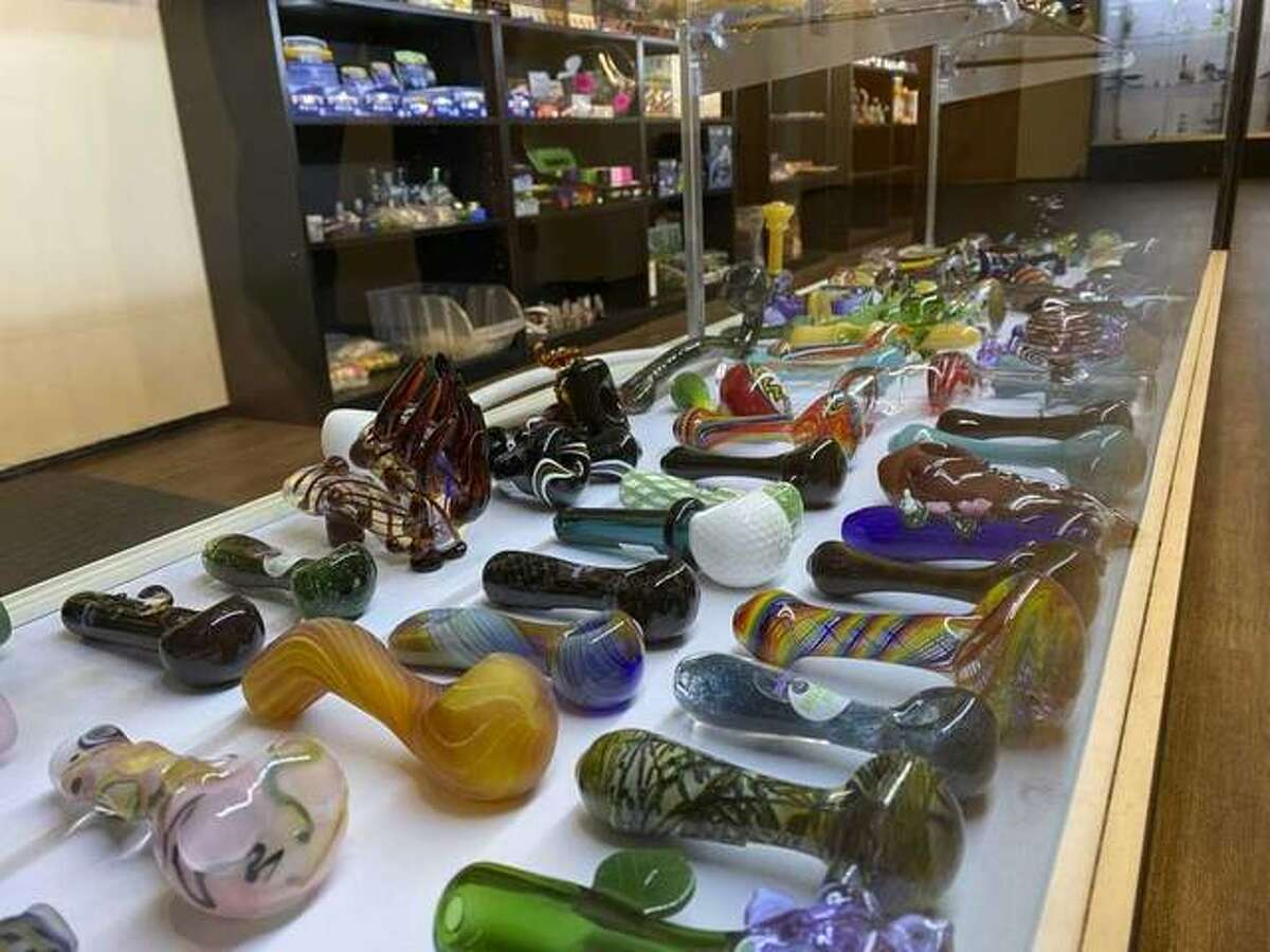 In this Wednesday, Dec. 18, 2019 photo, a variety of glass pipes in a displayed at CU Glass Connection in Champaign, Ill. Owners of glass pipe shops in Illinois are elated that their paraphernalia is legal to sell following the state's official start to decriminalizing recreational marijuana. Photo: Ben Zigterman, AP / The News-Gazette