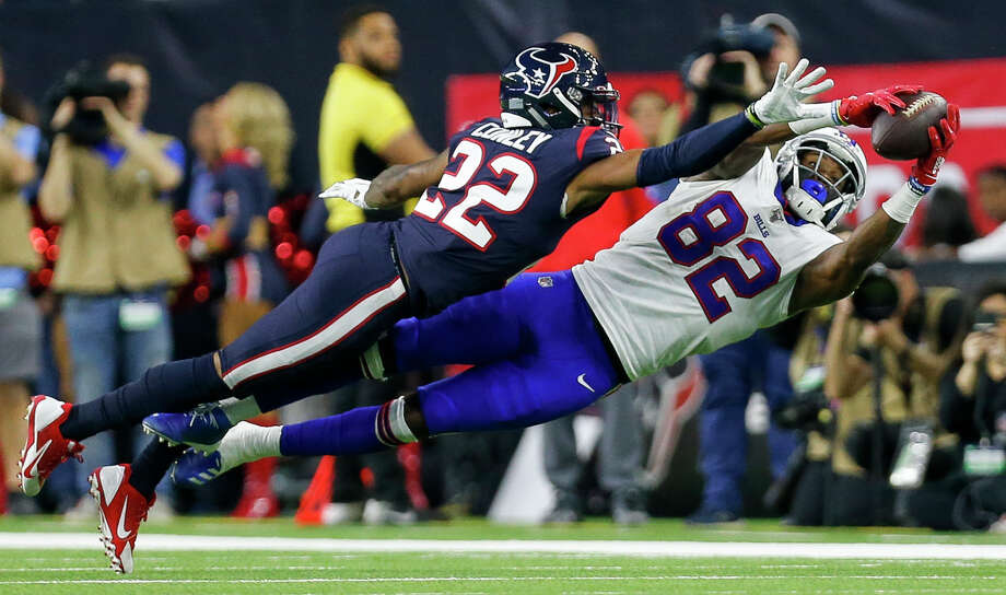 PHOTOS: Former members of Houston Texans in Super Bowl LIV Buffalo Bills wide receiver Duke Williams (82) makes a catch against Houston Texans cornerback Gareon Conley (22) during the third quarter of an AFC Wild Card playoff game at NRG Stadium Saturday, Jan. 4, 2020, in Houston. The Texans won 22-19. >>>A look at former members of the Texans who will participate in Super Bowl LIV between the Chiefs and the 49ers on Feb. 2, 2020 ... Photo: Godofredo A Vásquez/Staff Photographer / © 2020 Houston Chronicle