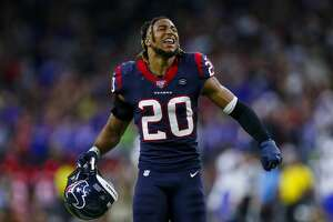 Houston Texans strong safety Justin Reid (20) reacts after the defense forced a turnover on downs against the Buffalo Bills during the fourth quarter of an AFC Wild Card playoff game at NRG Stadium Saturday, Jan. 4, 2020, in Houston. The Texans won 22-19.