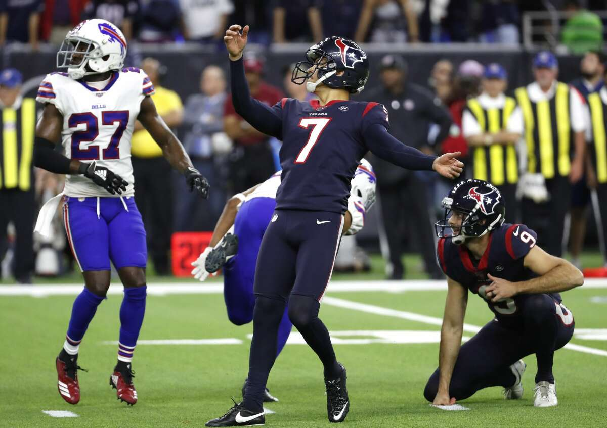 Houston Texans kicker Ka'imi Fairbairn (7) watches the fight of his game-winning 28-yard field goal in overtime to beat the Buffalo Bills 22-19 during an AFC wild card playoff game at NRG Stadium on Saturday, Jan. 4, 2020, in Houston.