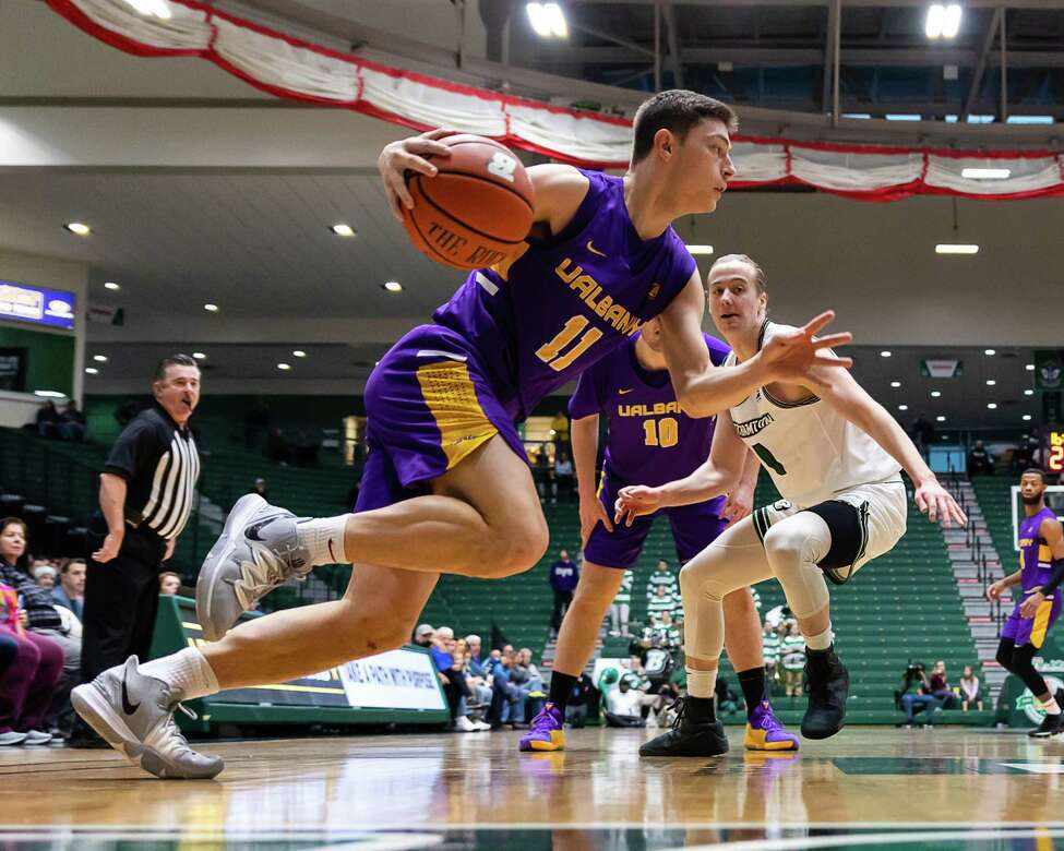 UAlbany's Cameron Healy heads toward the basket against Binghamton during their game Saturday, Jan. 4, 2020. (Courtesy of Brent Warzocha)