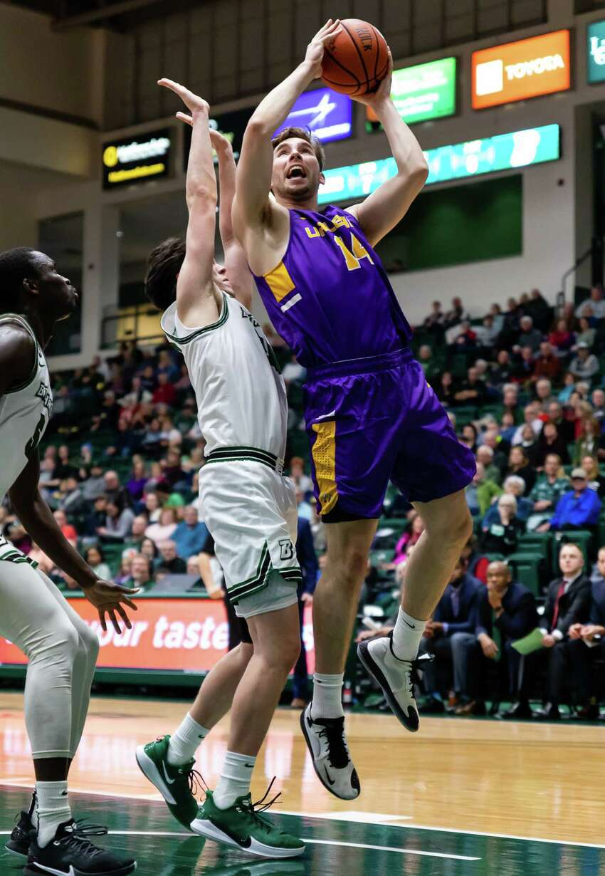 UAlbany's Adam Lulka goes to the basket against Binghamton during their game Saturday, Jan. 4, 2020. (Courtesy of Brent Warzocha)