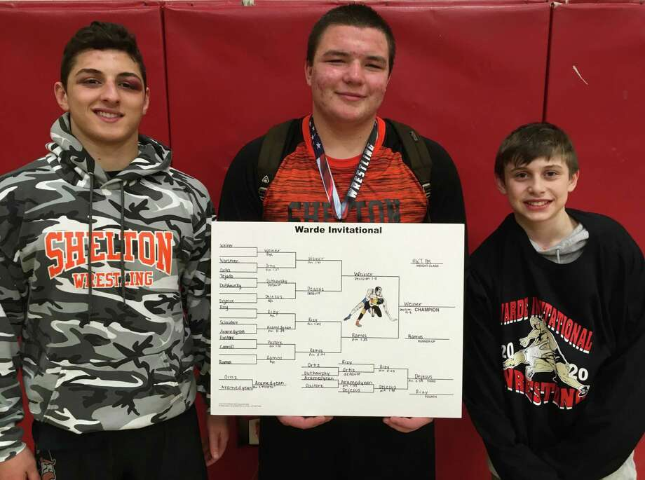 Mike Monaco (fifth), Matt Weiner (first) and Graham Ziperstein (sixth) placed at Saturday's Warde Wrestling Invitational. Photo: Contributed Photo / Shelton High Athletics / Shelton Herald