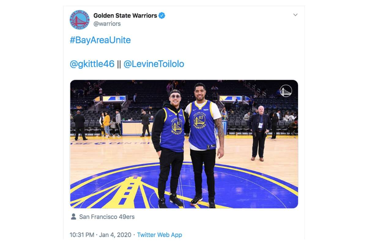 George Kittle and Levine Toilolo attend a Warriors game at the Chase Center on Jan. 4, 2019.