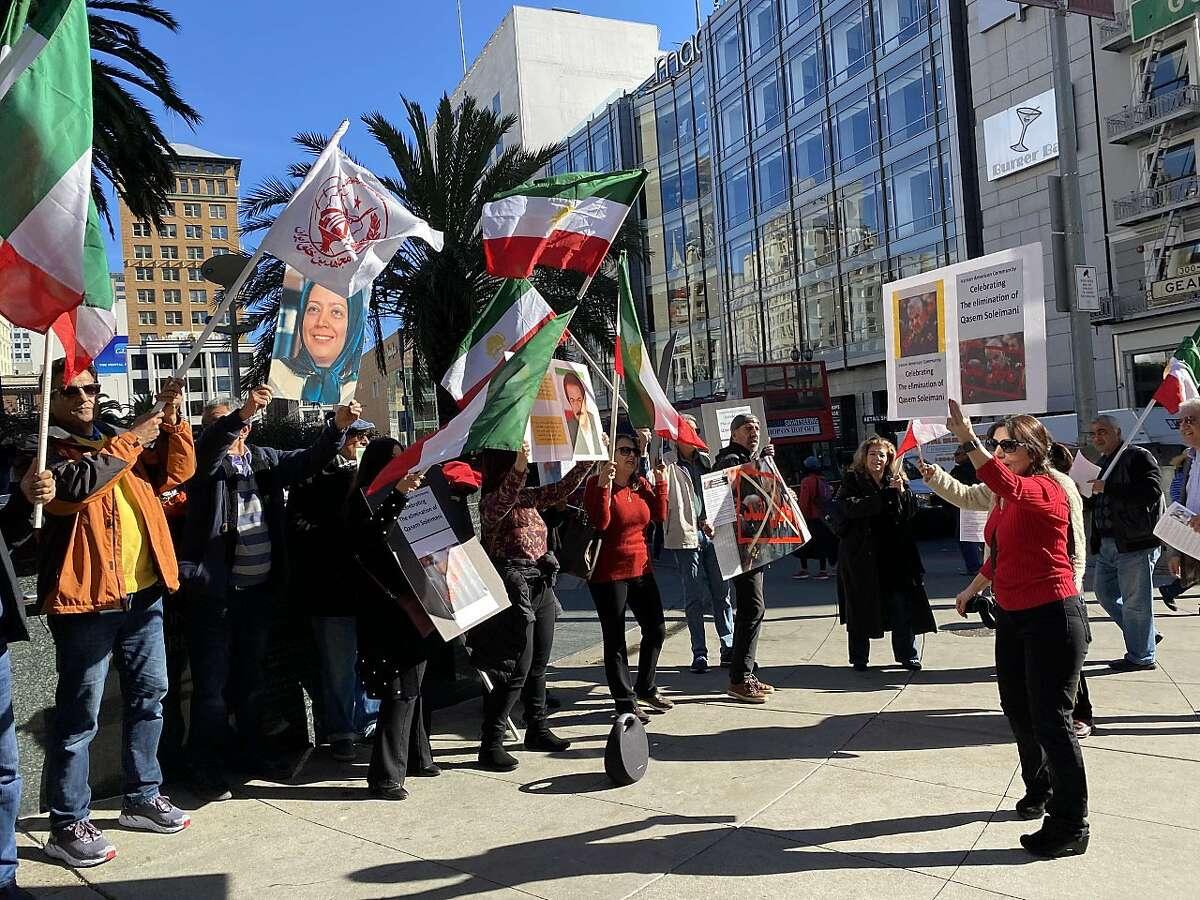 A few dozen Iranian-Americans celebrated the killing of Qasem Soleimani in Union Square on Jan. 5, 2020.
