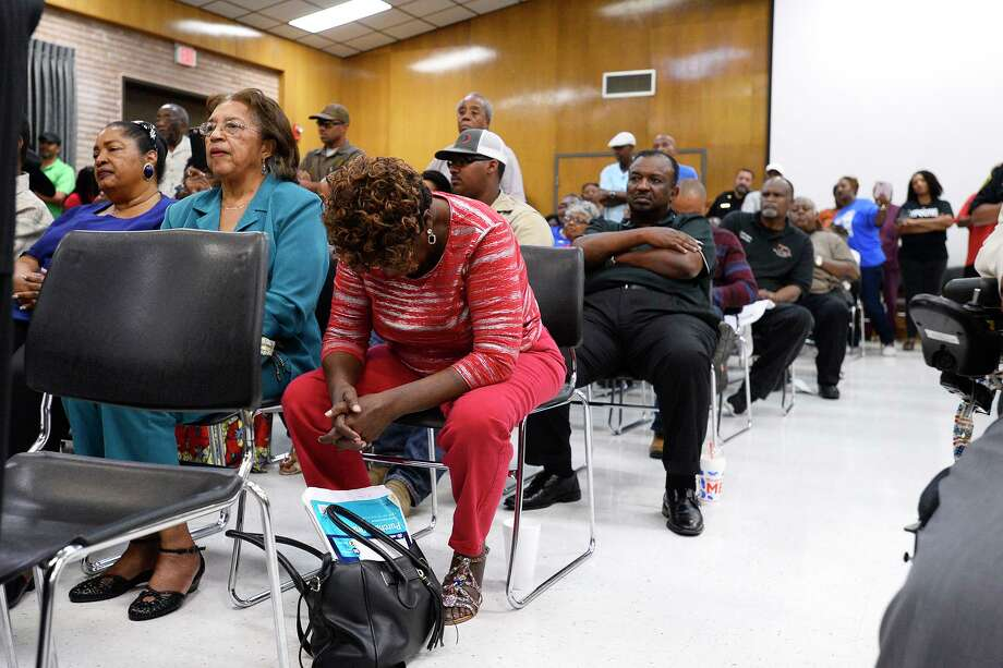 Audience members listen before the stadium vote during the Beaumont ISD board meeting. The board voted to change the name of the Thomas Center stadium.  Photo taken Thursday 8/16/18  Ryan Pelham/The Enterprise Photo: Ryan Pelham / The Enterprise / ©2018 The Beaumont Enterprise