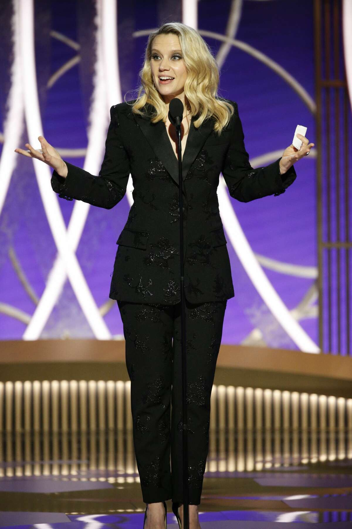 In this handout photo provided by NBCUniversal Media, LLC, Kate McKinnon speaks onstage during the 76th Annual Golden Globe Awards at The Beverly Hilton Hotel on Jan. 5, 2020 in Beverly Hills, Calif.