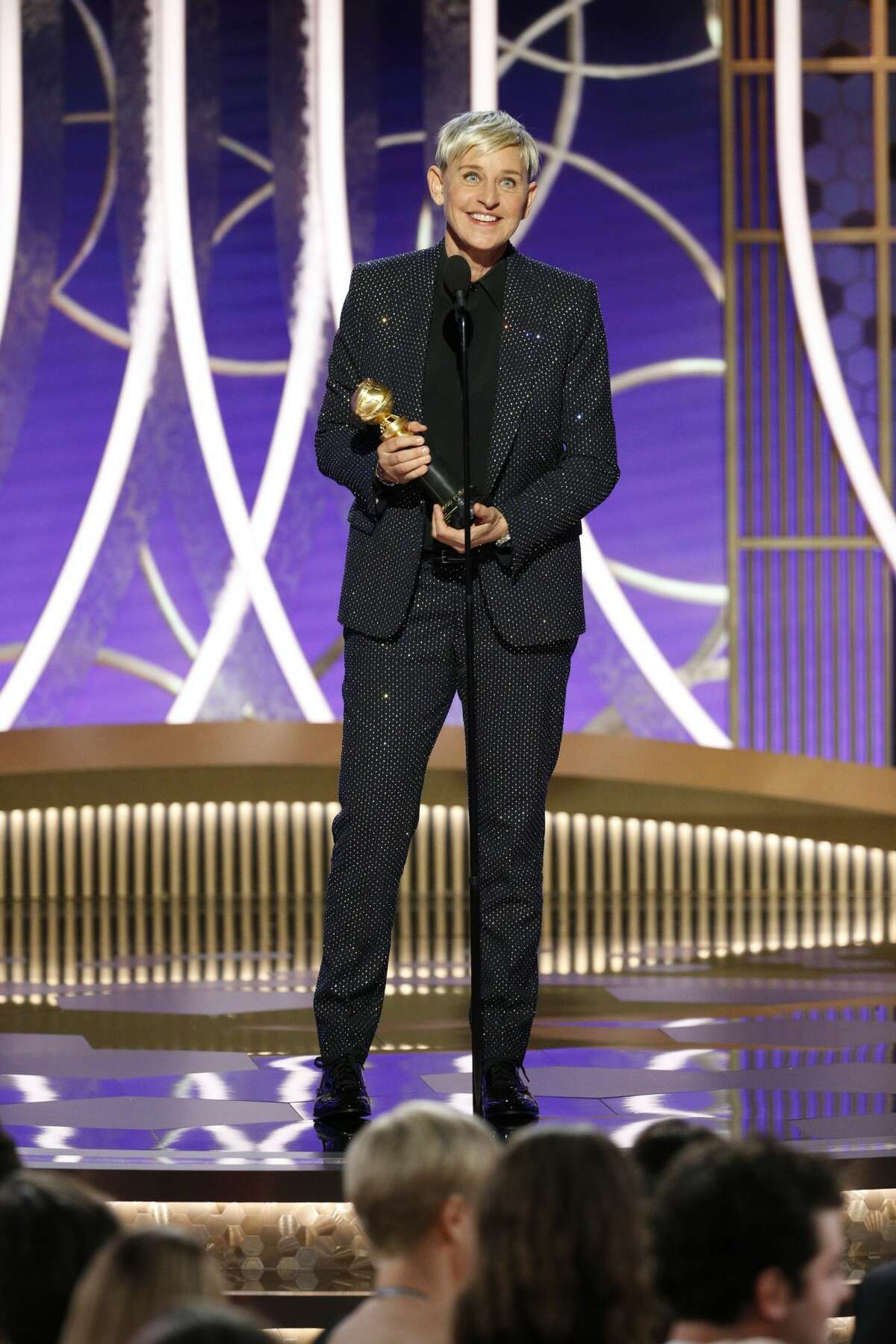 In this handout photo provided by NBCUniversal Media, LLC, Ellen DeGeneres accepts the CAROL BURNETT AWARD onstage during the 76th Annual Golden Globe Awards at The Beverly Hilton Hotel on January 5, 2020 in Beverly Hills, California.