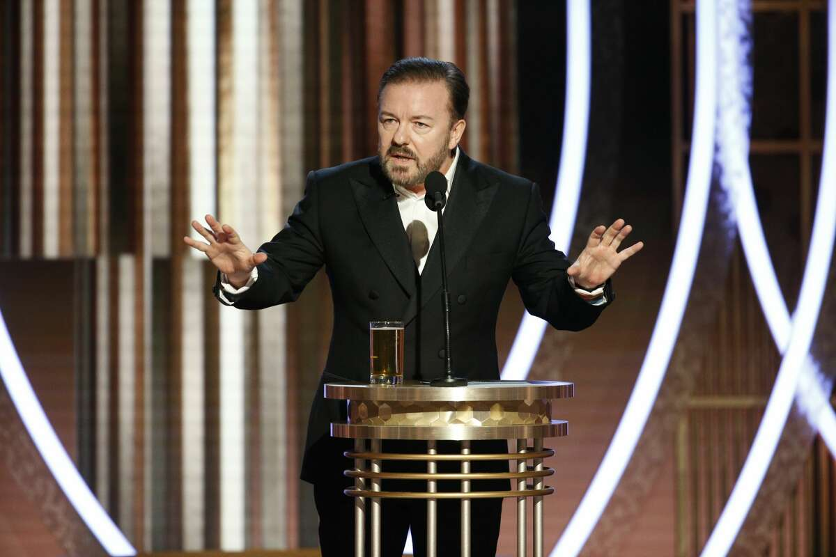 Host Ricky Gervais speaks onstage during the 76th Annual Golden Globe Awards at The Beverly Hilton Hotel on January 5, 2020 in Beverly Hills, California. (Photo by Paul Drinkwater/NBCUniversal Media, LLC via Getty Images)