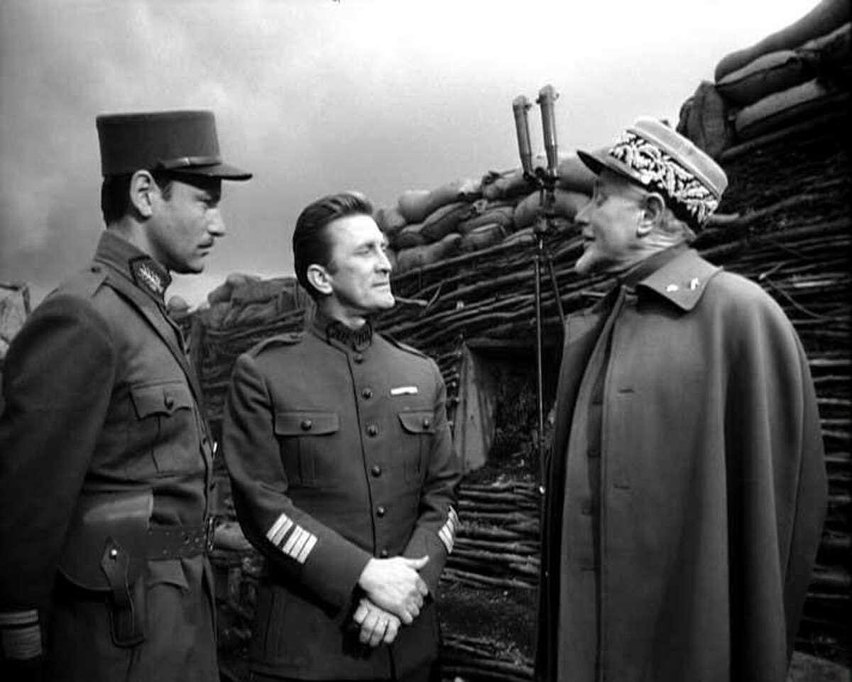 "Richard Anderson, Kirk Douglas and George Macready in ""Paths of Glory."""
