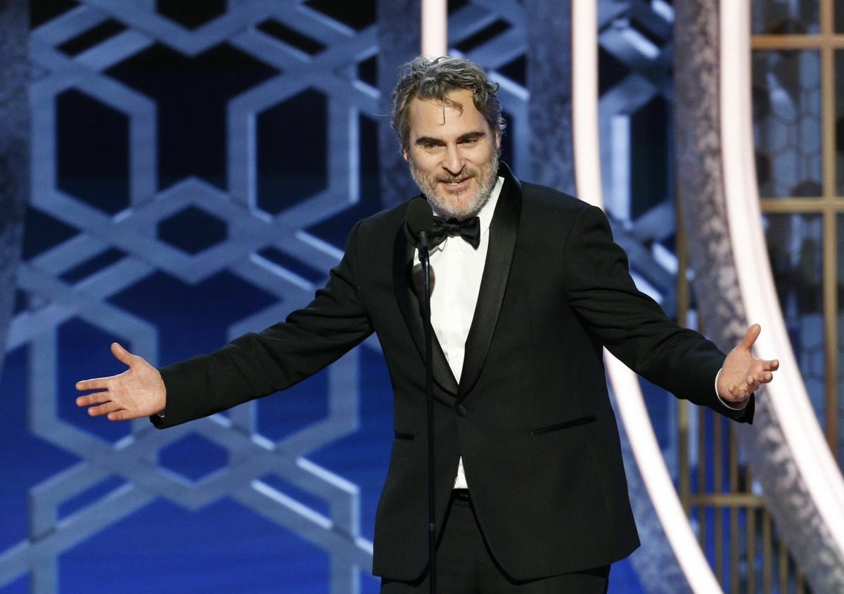 In this handout photo provided by NBCUniversal Media, LLC, Joaquin Phoenix accepts the award for BEST PERFORMANCE BY AN ACTOR IN A MOTION PICTURE - DRAMA for
