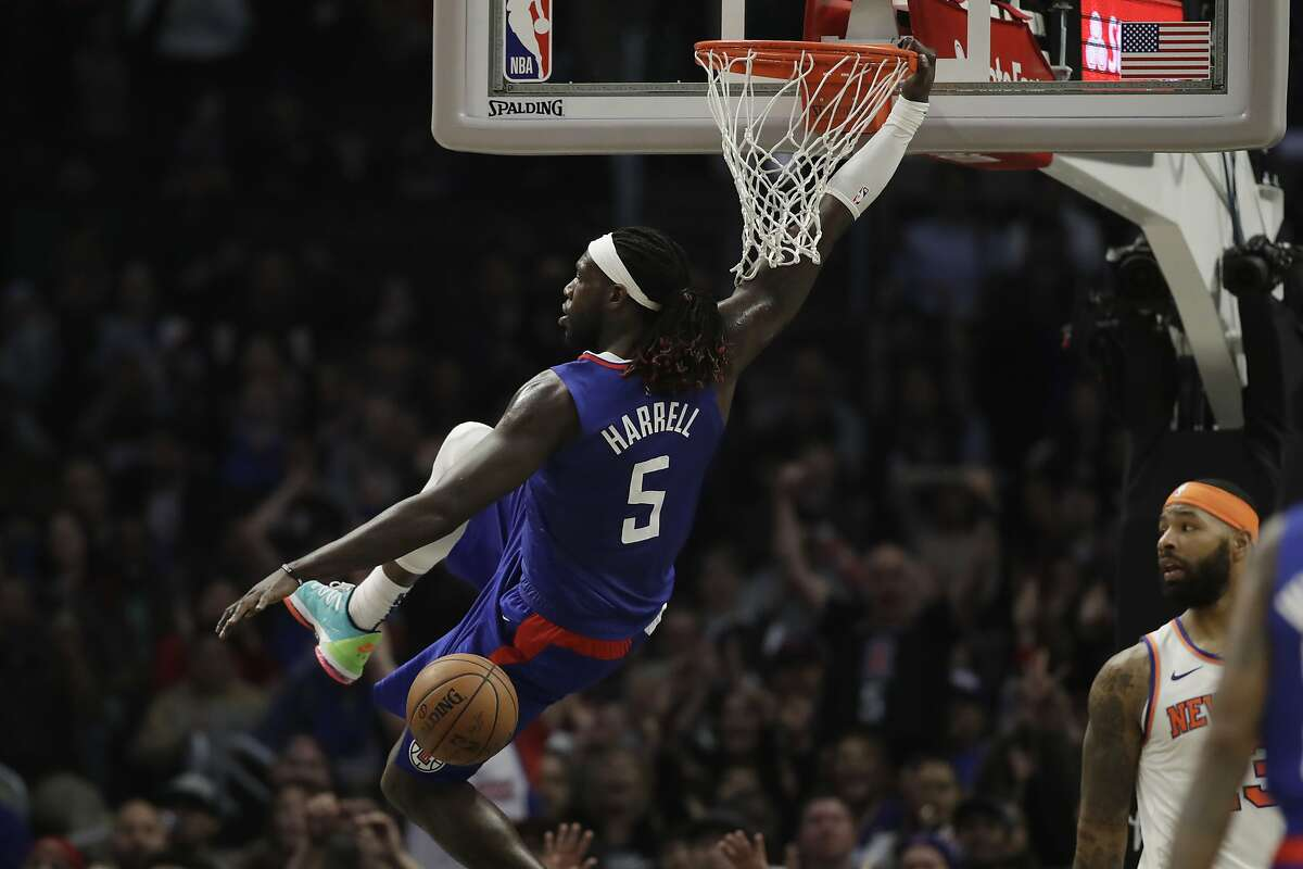 Los Angeles Clippers' Montrezl Harrell dunks against the New York Knicks during the second half of an NBA basketball game Sunday, Jan. 5, 2020, in Los Angeles. (AP Photo/Marcio Jose Sanchez)