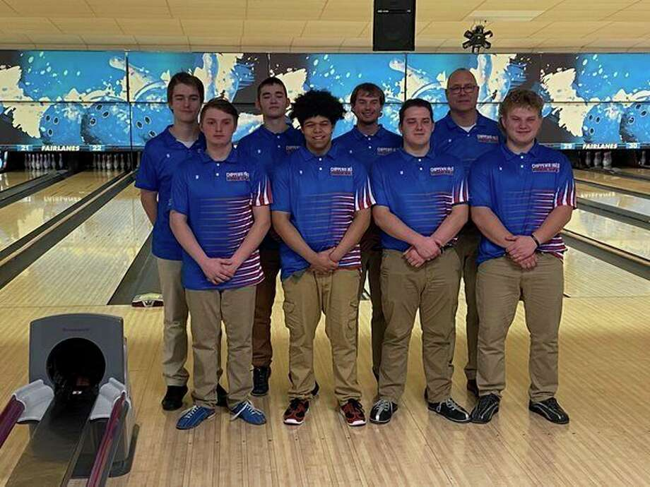 Chippewa Hills' bowling team took third place at the Jenison Tournament: front (from left) Larry Jasman, Jacob Beckley, Colton Sherman and Jace LaLonde; back (from left) Dylan Sharp, Bradyn Fate, Nate Snyder and coach Chris Stirn. (Courtesy photo)