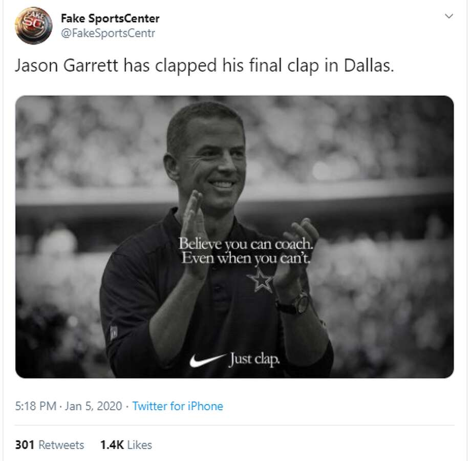 Twitter reacted to the news that the Dallas Cowboys will not renew Jason Garrett's contract. Photo: Twitter