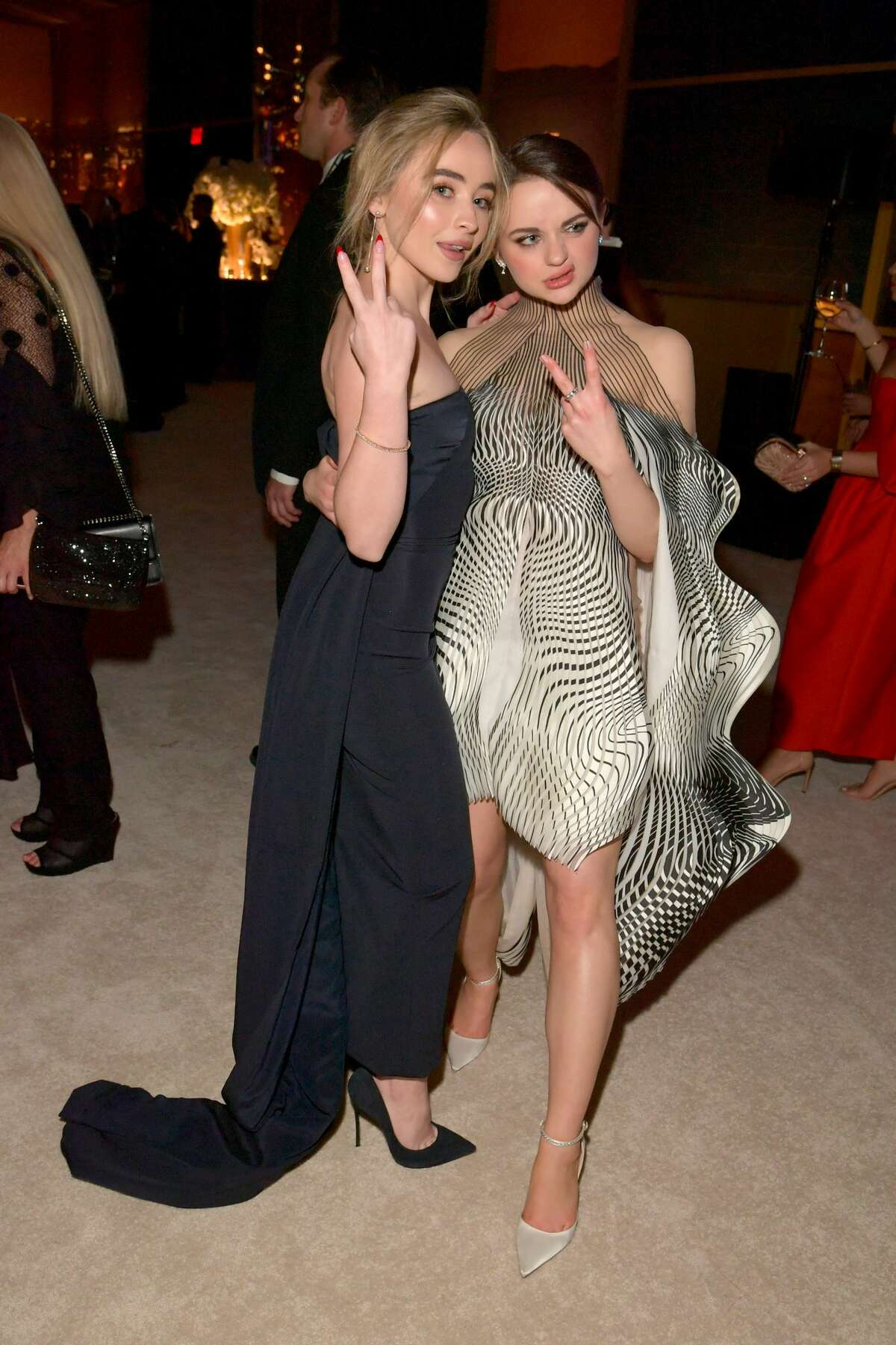(L-R) Sabrina Carpenter and Joey King attend The 2020 InStyle And Warner Bros. 77th Annual Golden Globe Awards Post-Party at The Beverly Hilton Hotel on January 05, 2020 in Beverly Hills, California. (Photo by Lester Cohen/Getty Images for InStyle)