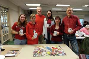 The winners of the seventh-annual Puzzle Off at the Edith Wheeler Memorial Library in Monroe, which took place Jan. 4, 2020: (from left) Hailey Pankow, Jeremy Pankow, Eli Crossman, Deborah Crossman, Juli Pankow, and Dale Pankow.