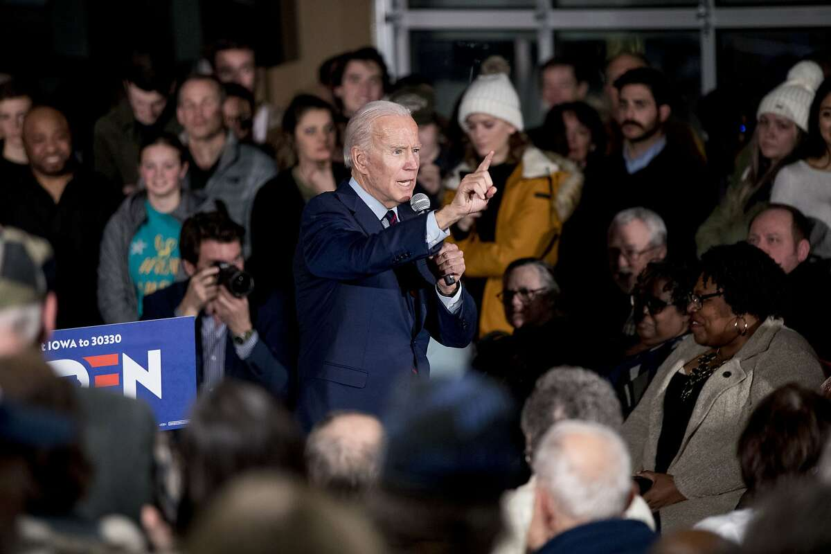 Democratic presidential candidate, former Vice President Joe Biden speaks at a campaign rally at Modern Woodmen Park, Sunday, Jan. 5, 2020, in Davenport, Iowa. (AP Photo/Andrew Harnik)