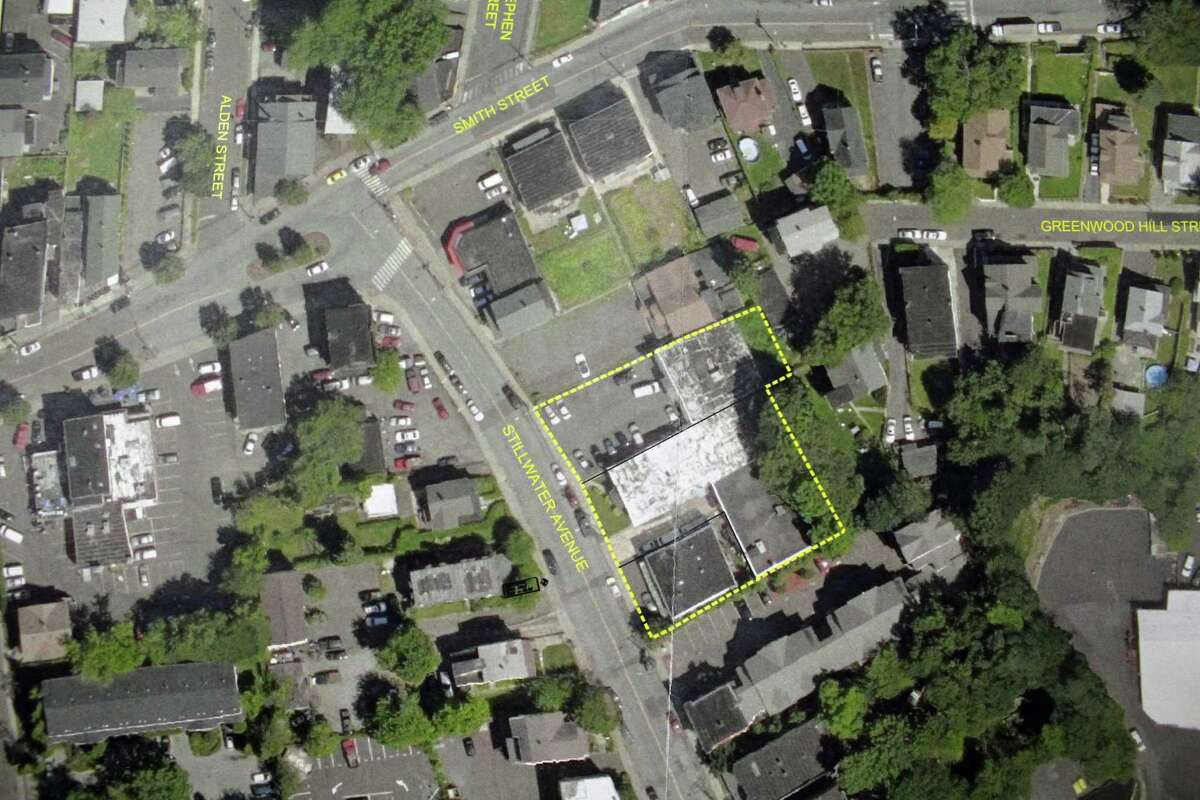 An aerial view of 57, 63 and 65 Stillwater Ave. buildings where the property owners and developer have proposed to demolish these to make way for a 45-unit apartment building.