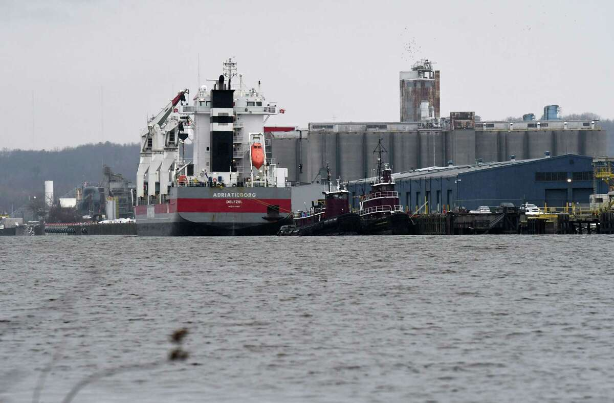 The cargo ship Adriaticborg is loaded at the Port of Albany on Monday, Jan. 6, 2020, in Albany, N.Y. (Will Waldron/Times Union)