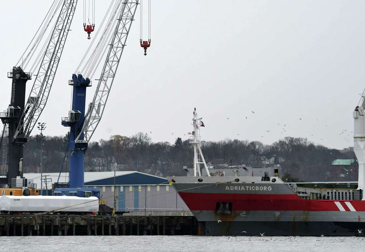 View of the Port of Albany as the cargo ship Adriaticborg is loaded on Monday, Jan. 6, 2020, in Albany, N.Y. (Will Waldron/Times Union)