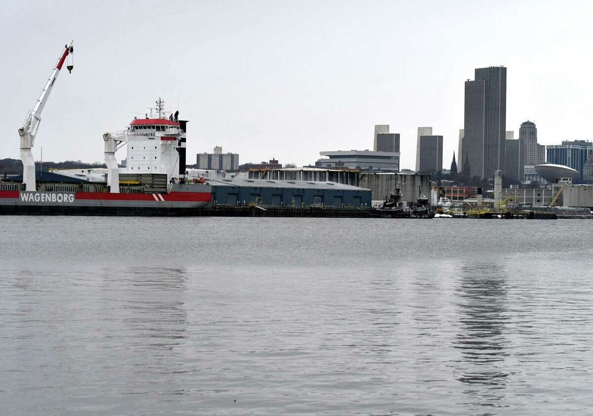 View of the Port of Albany as the cargo ship Adriaticborg, left, is loaded on Monday, Jan. 6, 2020, in Albany, N.Y. (Will Waldron/Times Union)