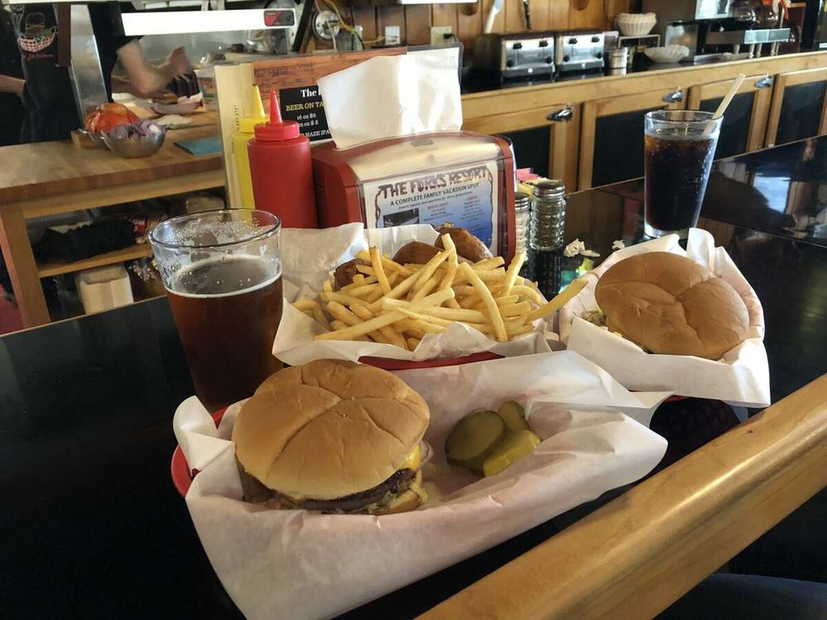 Burgers and fries at Forks Resort Restaurant in Bass Lake, Calif.