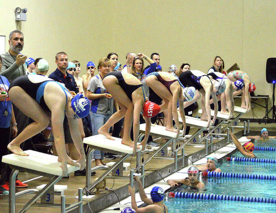 Swimmers compete in the Sprint Spectacular on Saturday at Chuck Fruit Aquatic Center on the campus of Edwardsville High School. The meet, which featured a dozen YMCA teams, is among the many events that the center hosts each year. Photo: Scott Marion/The Intelligencer