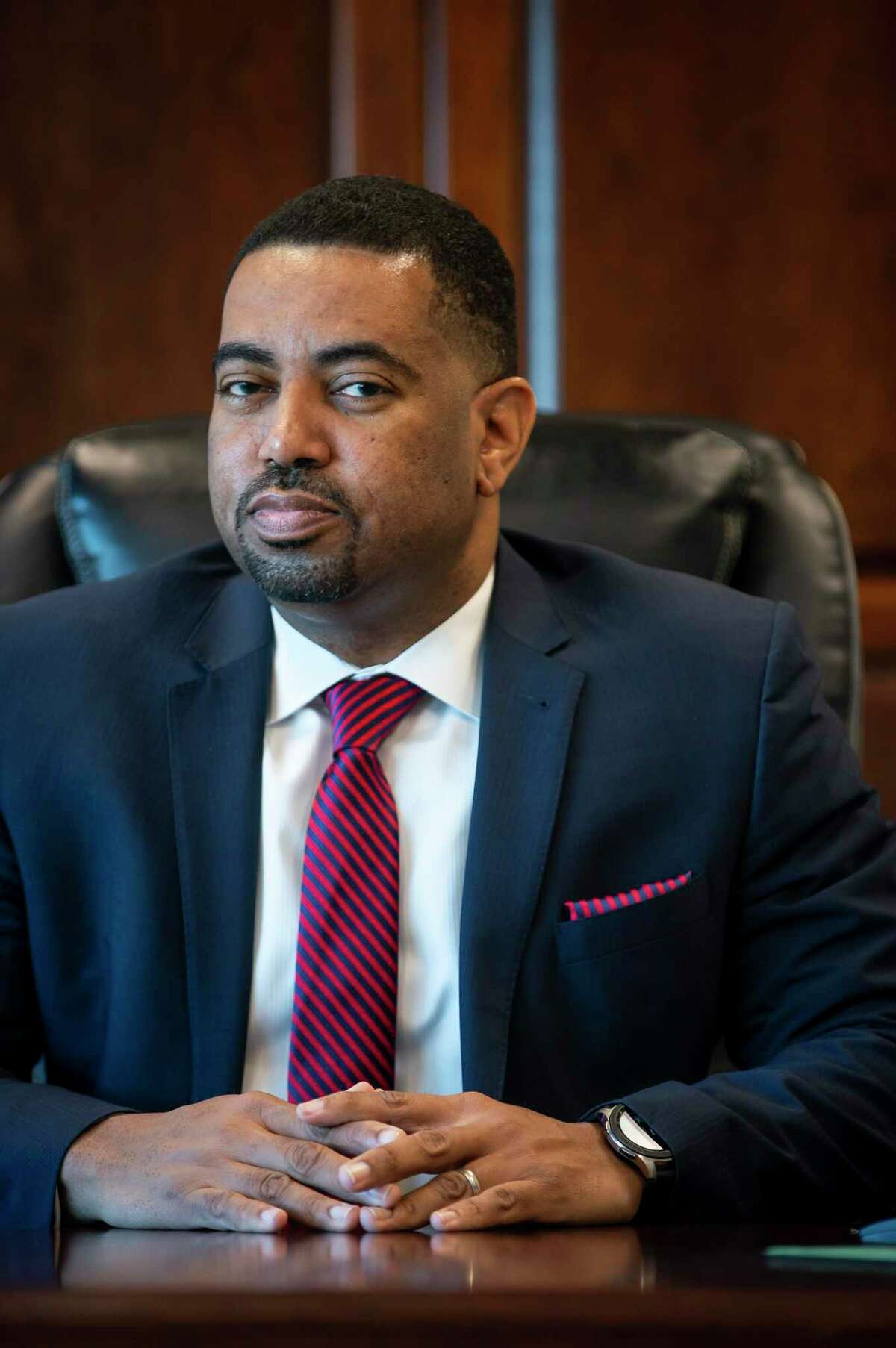 Fort Bend District Attorney Brian Middleton in his offices in Richmond, Monday, Dec. 23, 2019. After winning election in 2018, Middleton became the first Democrat and person of color to the office in 26 years.