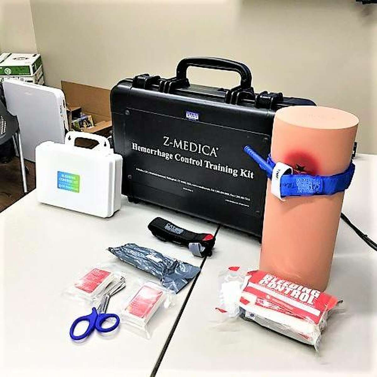 A Stop the Bleed kit can be used by bystanders to help in a bleeding emergency before professional help arrives.