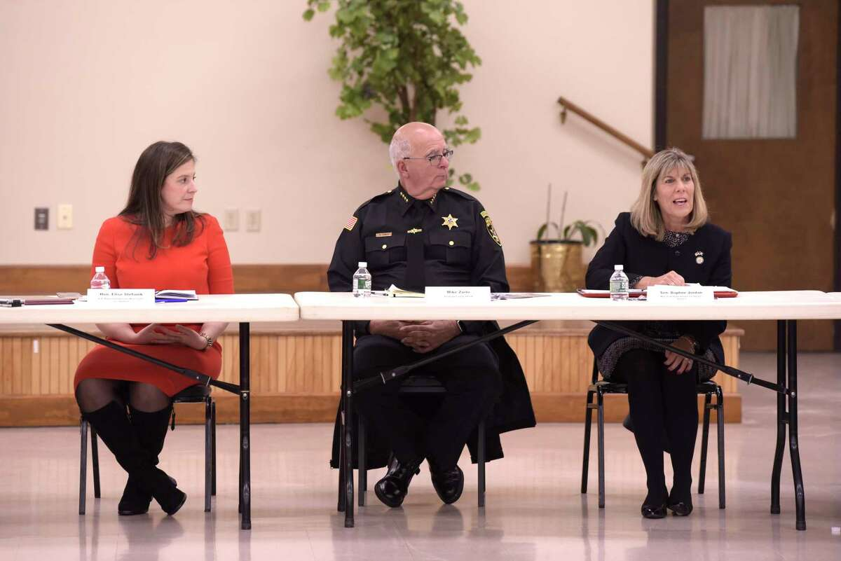 Congresswoman Elise Stefanik, left, Saratoga County Sheriff Mike Zurlo, center, and State Senator Daphne Jordan take part in a roundtable discussion on mental health issues for members of law enforcement on Monday, Jan. 6, 2020, in Ballston Spa, N.Y. Congresswoman Stefanik hosted the event. (Paul Buckowski/Times Union)