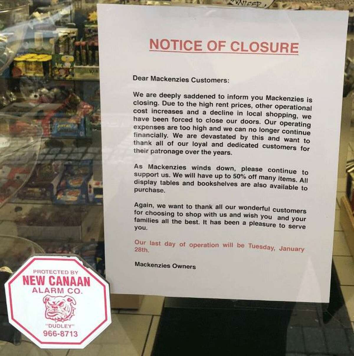 The Mackenzies store on South Avenue in New Canaan will be closing at the end of January, reads a sign on the store's door.